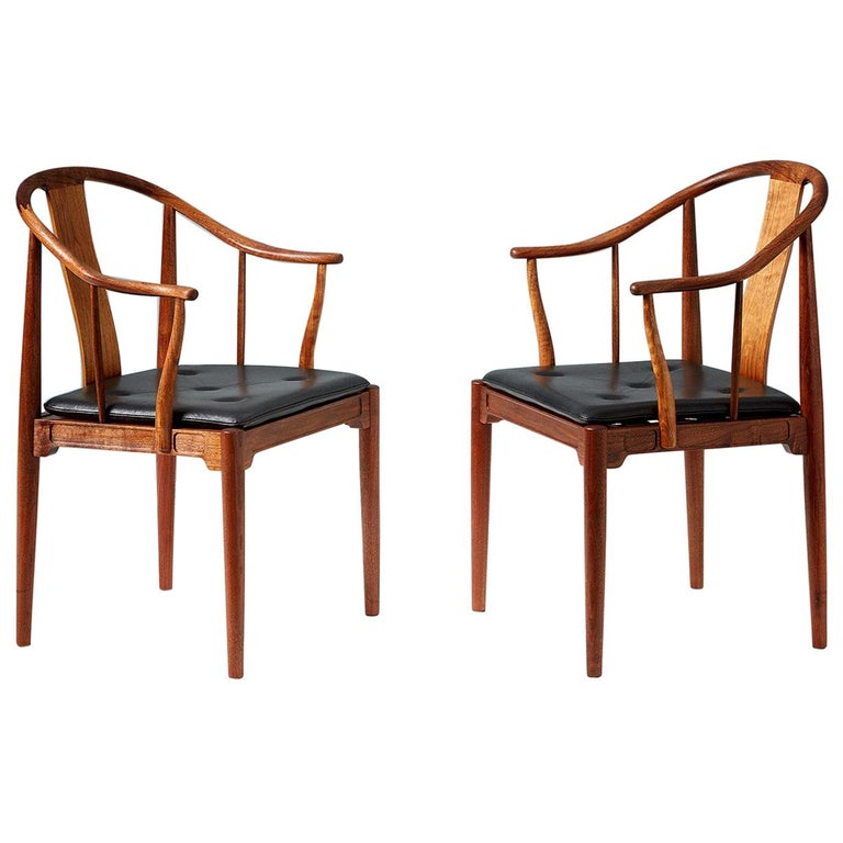 Pair of Hans Wegner Walnut China Chairs For Sale