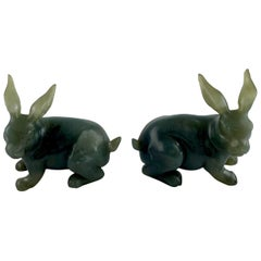 Pair of Hard Stone Rabbits, China, 20th C