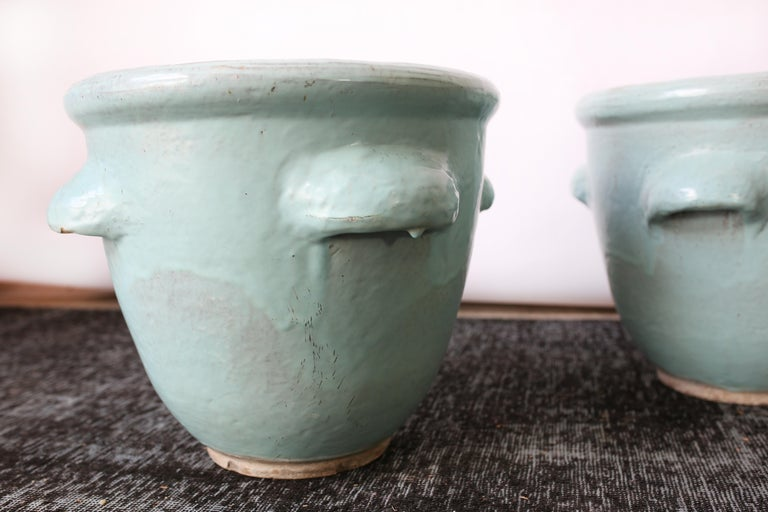 Pair of Turquoise Glazed Pottery Planters by Harding Black, 1960 In Good Condition In San Antonio, TX