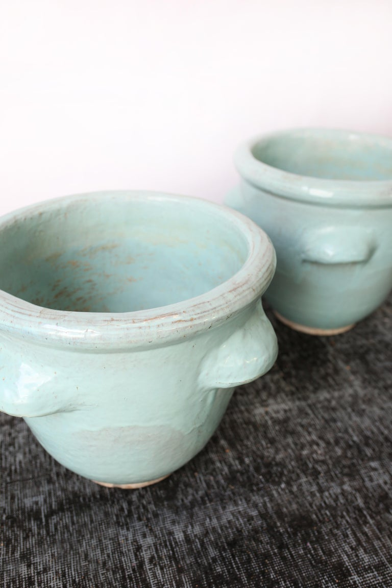 Mid-20th Century Pair of Turquoise Glazed Pottery Planters by Harding Black, 1960