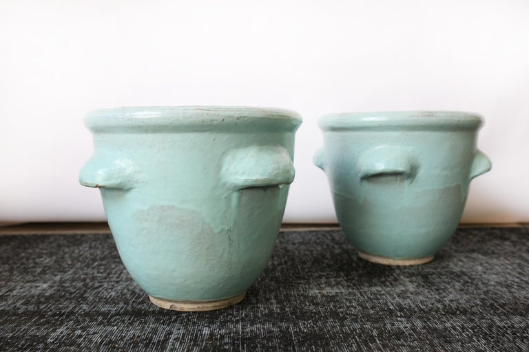 Pair of Turquoise Glazed Pottery Planters by Harding Black, 1960 1