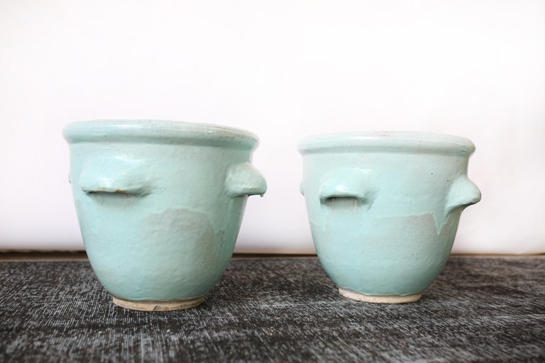 Pair of Turquoise Glazed Pottery Planters by Harding Black, 1960 3