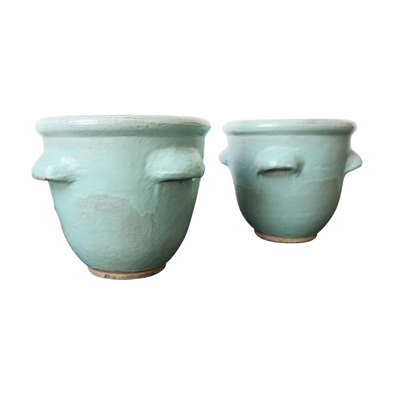 Pair of Turquoise Glazed Pottery Planters by Harding Black, 1960