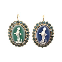 Pair of Hardstone Cameo, Blue Topaz and Gold Earrings