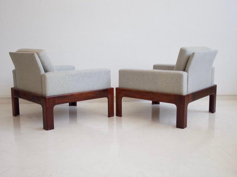 Danish Pair of Hardwood Armchairs with Wool Upholstery by Eilersen For Sale