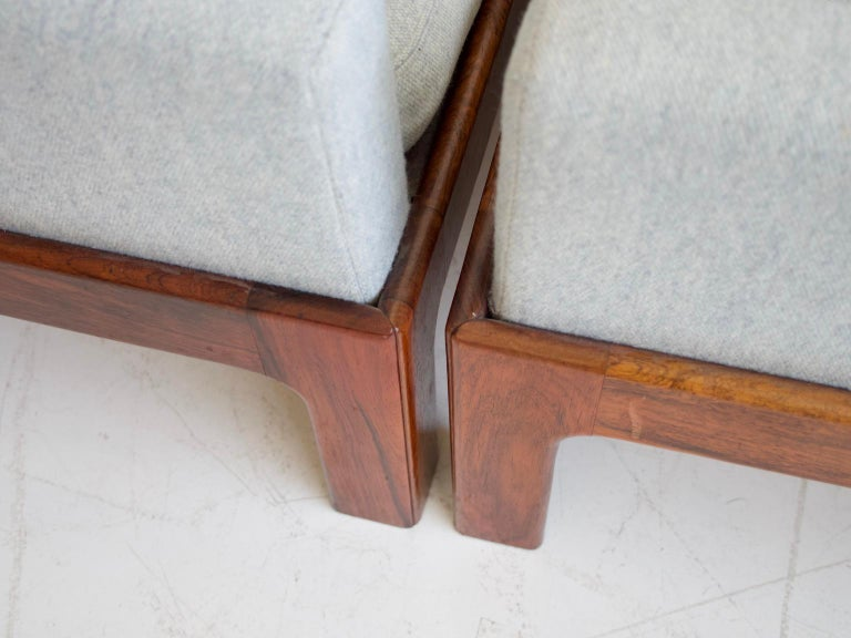 20th Century Pair of Hardwood Armchairs with Wool Upholstery by Eilersen For Sale