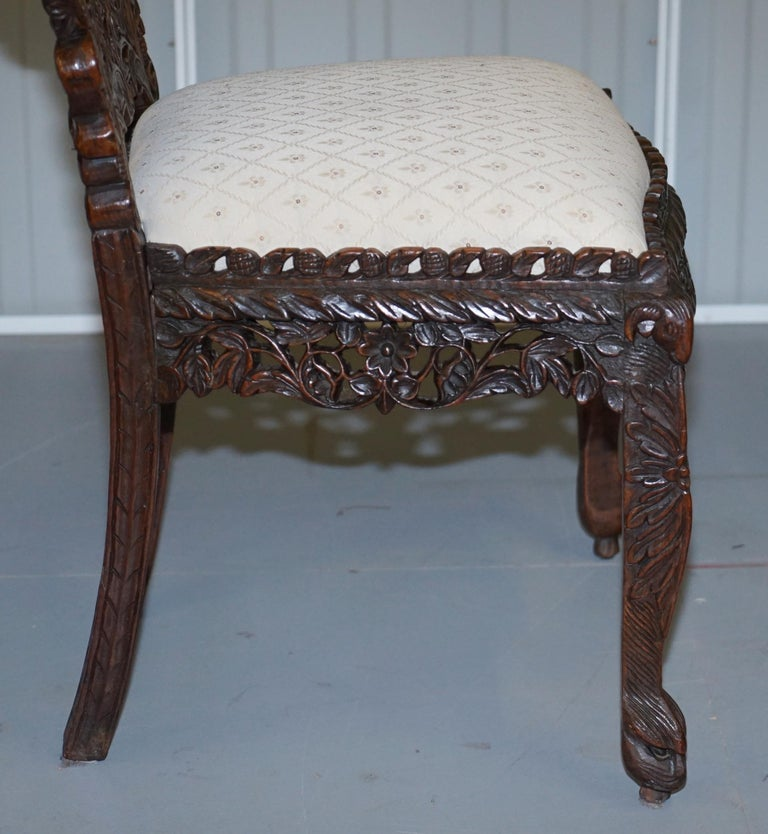 Pair of Hardwood Hand Carved Anglo Indian Burmese Chairs with Floral Detailing For Sale 4