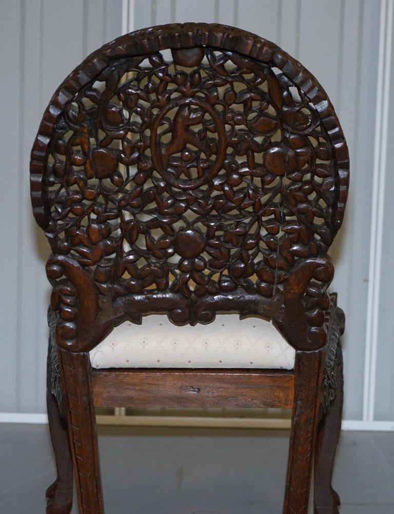 Pair of Hardwood Hand Carved Anglo Indian Burmese Chairs with Floral Detailing For Sale 5