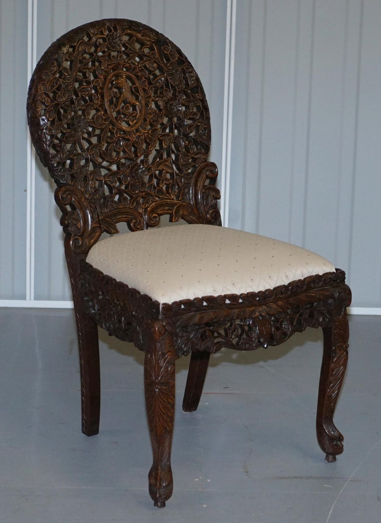 Pair of Hardwood Hand Carved Anglo Indian Burmese Chairs with Floral Detailing For Sale 6