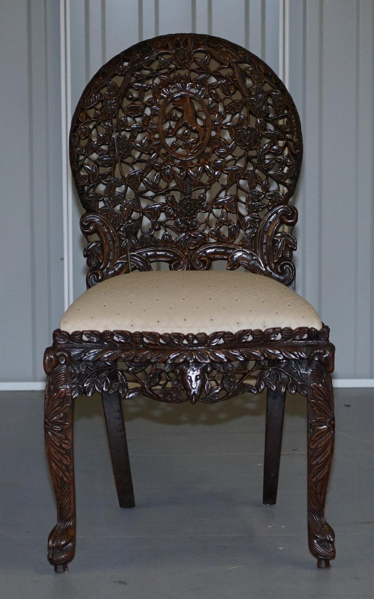 Pair of Hardwood Hand Carved Anglo Indian Burmese Chairs with Floral Detailing For Sale 7