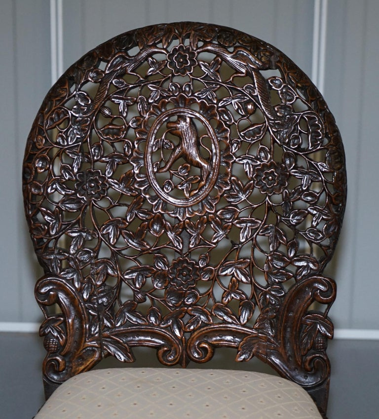 Pair of Hardwood Hand Carved Anglo Indian Burmese Chairs with Floral Detailing For Sale 8