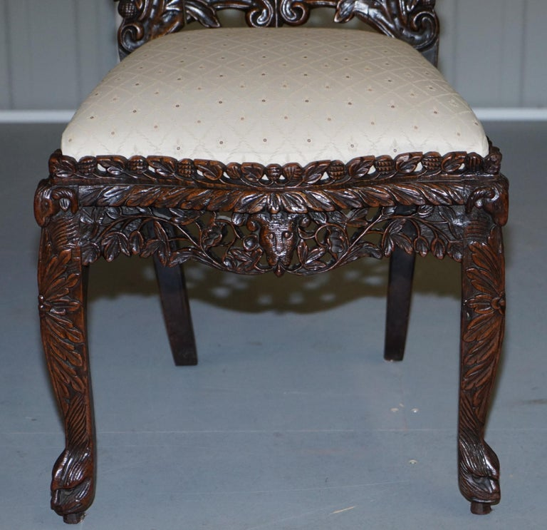 Pair of Hardwood Hand Carved Anglo Indian Burmese Chairs with Floral Detailing For Sale 10
