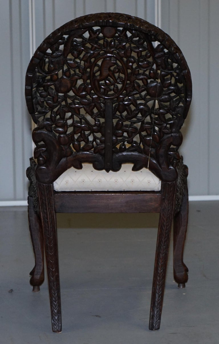 Pair of Hardwood Hand Carved Anglo Indian Burmese Chairs with Floral Detailing For Sale 12