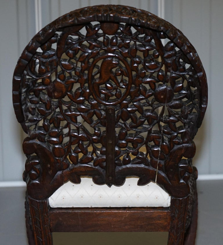 Pair of Hardwood Hand Carved Anglo Indian Burmese Chairs with Floral Detailing For Sale 13