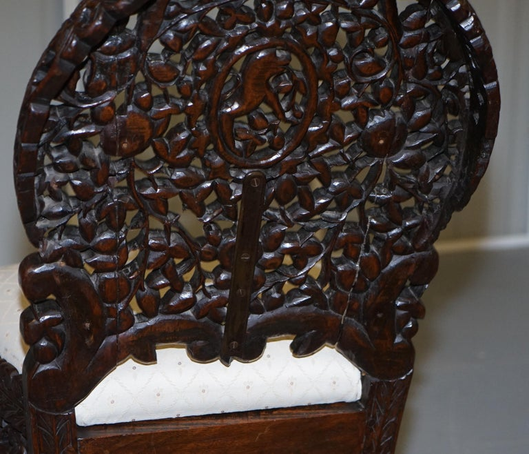 Pair of Hardwood Hand Carved Anglo Indian Burmese Chairs with Floral Detailing For Sale 14