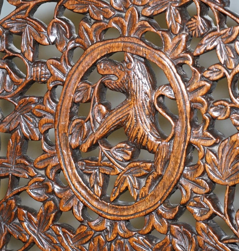 Pair of Hardwood Hand Carved Anglo Indian Burmese Chairs with Floral Detailing In Good Condition For Sale In London, GB