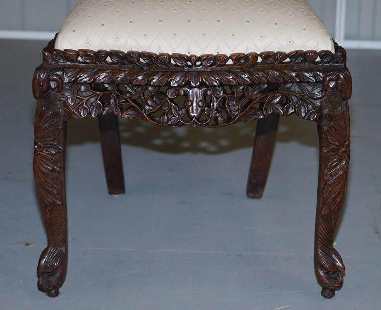 Pair of Hardwood Hand Carved Anglo Indian Burmese Chairs with Floral Detailing For Sale 1