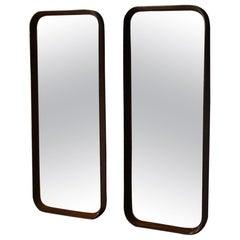 Pair of Hardwood Midcentury Mirrors