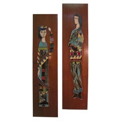 Pair of Harris Strong Mid-Century Modern Figural Art Tile Ceramic Plaques