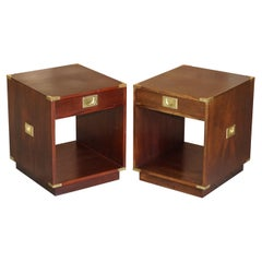 Pair of Harrods Kennedy Double Sided Hardwood Campaign Side Table Drawers