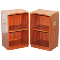 Pair of Harrods Kennedy Mahogany Military Campaign Side Table Bookcase Shelves