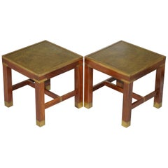 Pair of Harrods Kennedy Military Campaign Green Leather Top Side Lamp Tables