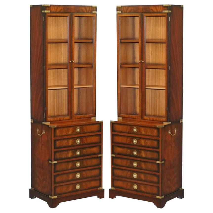 Pair of Harrods Kennedy Military Campaign Hardwood Bookcases + Chest of Drawers