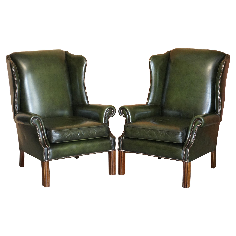 Pair of Harrods London 1987 Pegasus Regency Green Leather Wingback Armchairs