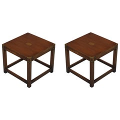 Pair of Harrods London Kennedy Mahognay Military Campaign Side End Lamp Tables
