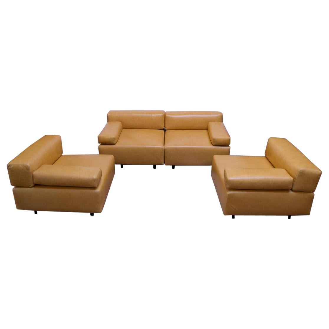 """Pair of Harvey Probber """"Cubo"""" Leather Sofas"""
