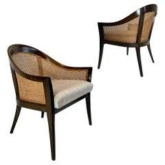 Pair of Harvey Probber Elegant Cane Back Mahogany Framed Chairs
