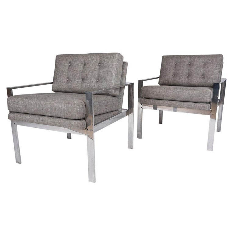This Vintage Pair of Harvey Probber Lounge Chairs belonged and were used at The Washington Post's main offices during 1970s and have been professionally restored. These comfortable club chairs have been newly upholstered in a light grey color fabric