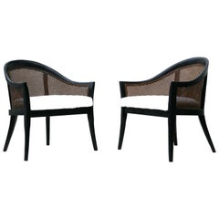 Pair of Harvey Probber Lounge Chairs with Cane Barrel Back Chair