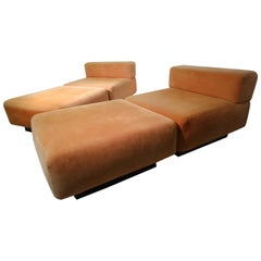 Pair of Harvey Probber Mid-Century Modern Modular Seating Four Pieces