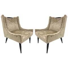 Pair of Harvey Probber Slipper Chairs in Velvet