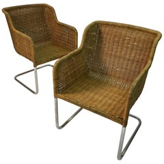 Pair Of Harvey Probber Style Rattan Wicker Chrome Armchairs