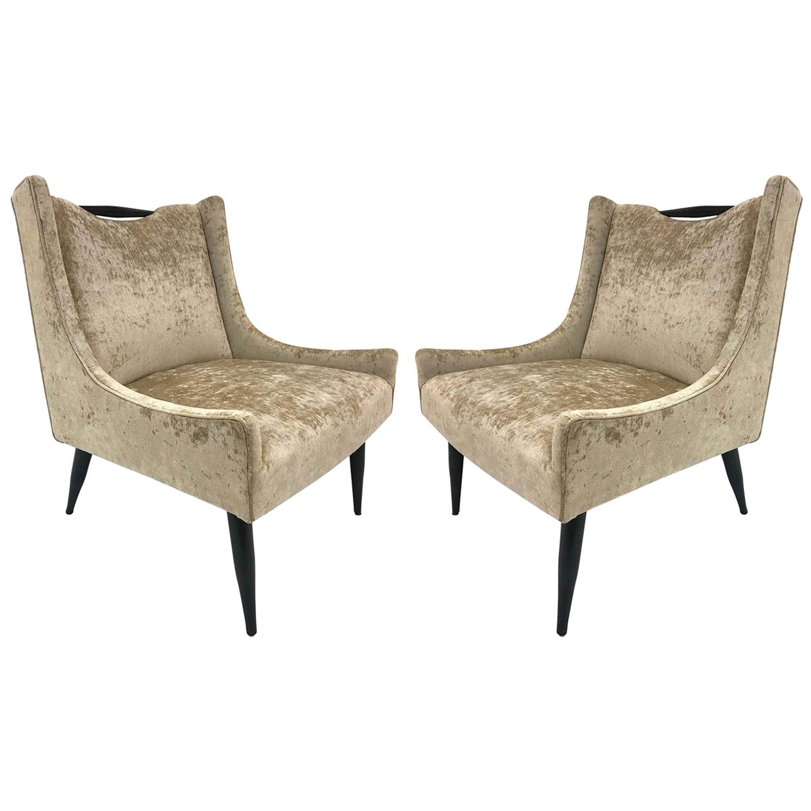 Pair of Harvey Probber Style Slipper Chairs in Velvet
