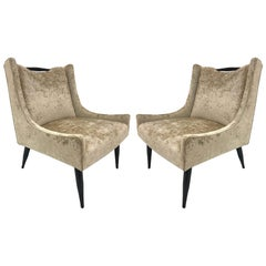 Pair of Harvey Probber Style Slipper Chairs in Velvet