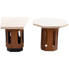 Harvey Probber Style Terrazzo and Walnut Side Table