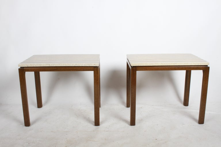 Pair of Harvey Probber Terrazzo and Brass Inlay End Tables For Sale 5