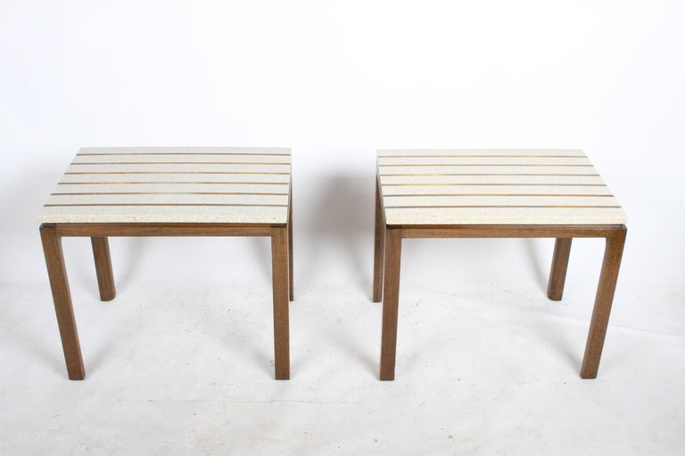 Pair of Harvey Probber Terrazzo and Brass Inlay End Tables For Sale 1