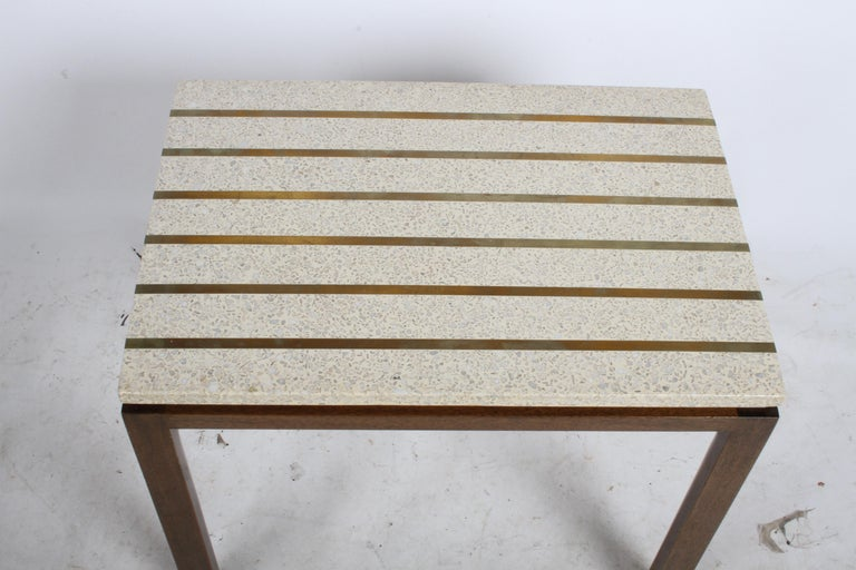Pair of Harvey Probber Terrazzo and Brass Inlay End Tables For Sale 2