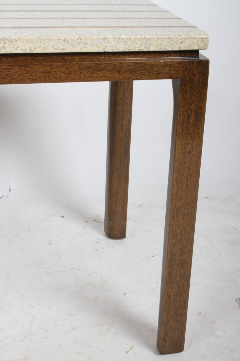 Pair of Harvey Probber Terrazzo and Brass Inlay End Tables For Sale 3
