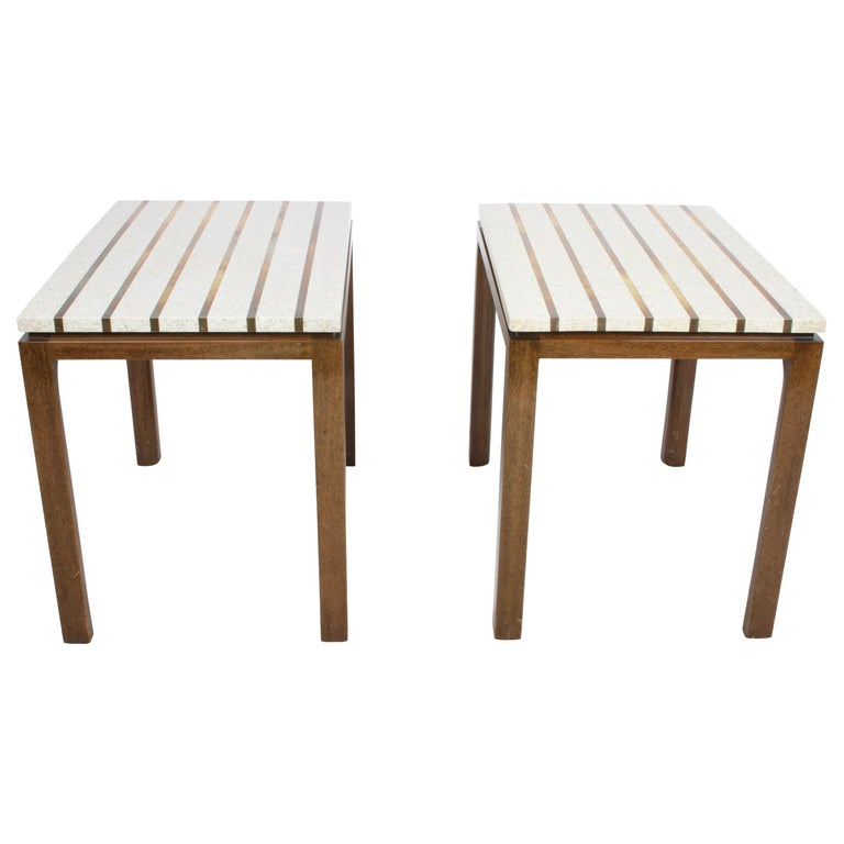 Pair of Harvey Probber Terrazzo and Brass Inlay End Tables For Sale