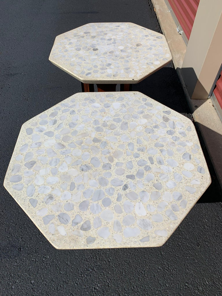 American Pair of Terrazzo Top Octagonal Walnut Side/Occasional Table's