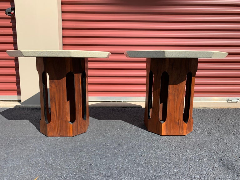 Mid-20th Century Pair of Terrazzo Top Octagonal Walnut Side/Occasional Table's