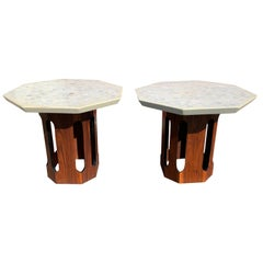 Pair of Terrazzo Top Octagonal Walnut Side/Occasional Table's
