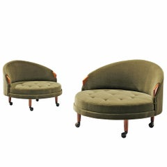 Pair of 'Havana' Chairs Reupholstered in Green Velour by Adrian Pearsall
