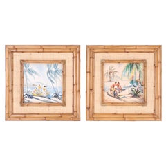 Pair of Hawaiian Watercolors in Bamboo Frames