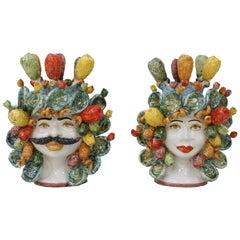 Pair of Heads Shape Sicilian Terracotta Vase